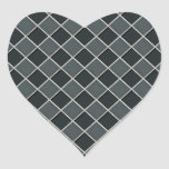 Charcoal 3D Checkers Heart Sticker