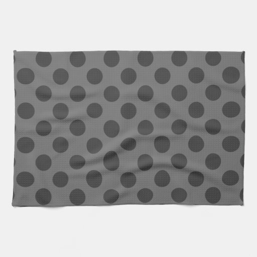 Charcoal and Dark Gray Polka Dots Kitchen Towels
