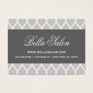 Charcoal and Gray Modern Moroccan Quatrefoil Business Card