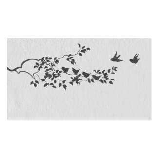 Charcoal and Gray Silhouette Birds Place Cards Business Card Template