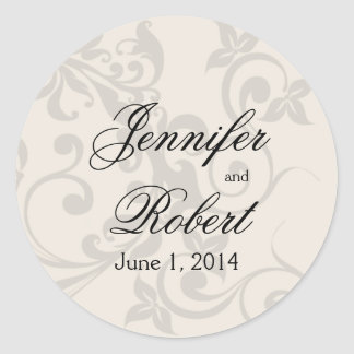 Charcoal and Ivory Filigree Envelope Seal Round Sticker