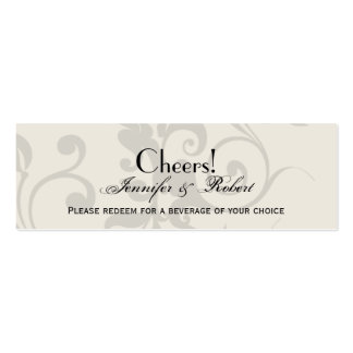 Charcoal and Ivory Filigree Wedding Drink Ticket Mini Business Card