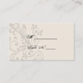Charcoal and Ivory Filigree Wedding Place Cards