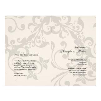 Charcoal and Ivory Filigree Wedding Program Custom Flyer