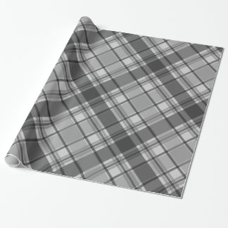 Charcoal and Light Gray Plaid Wrapping Paper