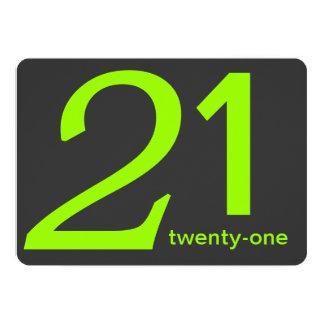 Charcoal and Lime Custom 21st Birthday Invitation
