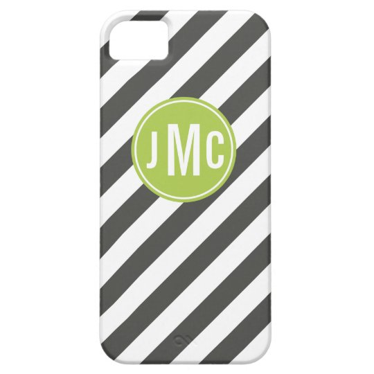 Charcoal and Lime Stripes with Custom Monogram iPhone SE/5/5s Case