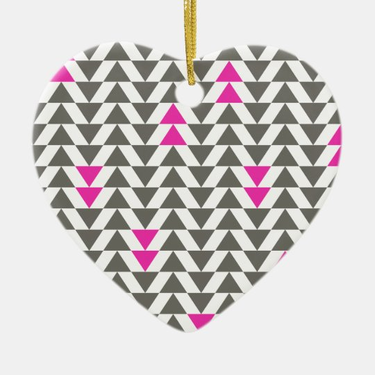 Charcoal and Magenta Triangles Ceramic Ornament