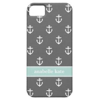 Charcoal and Mint Cute Anchors Custom Monogram iPhone SE/5/5s Case
