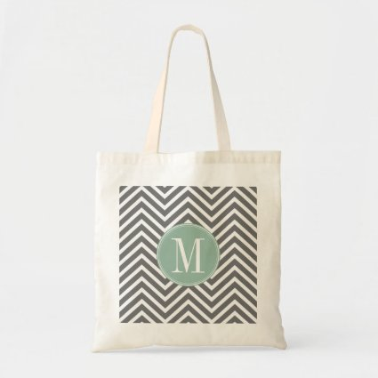 Charcoal and Mint Green Chevrons Custom Monogram Tote Bags