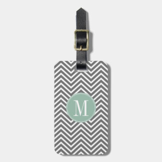 Charcoal and Mint Green Chevrons Custom Monogram Bag Tag