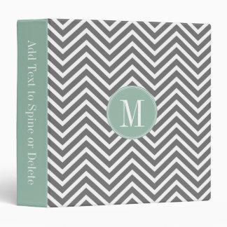 Charcoal and Mint Green Chevrons Custom Monogram Binder