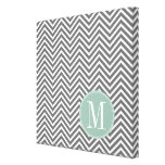 Charcoal and Mint Green Chevrons Custom Monogram Stretched Canvas Print