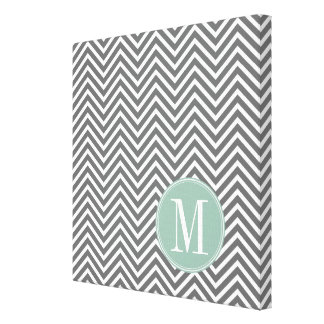 Charcoal and Mint Green Chevrons Custom Monogram Canvas Print