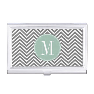 Charcoal and Mint Green Chevrons Custom Monogram Case For Business Cards