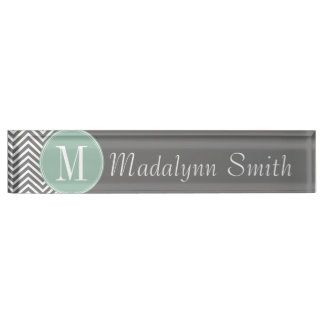 Charcoal and Mint Green Chevrons Custom Monogram Desk Name Plate