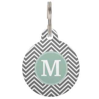 Charcoal and Mint Green Chevrons Custom Monogram Pet Nametag