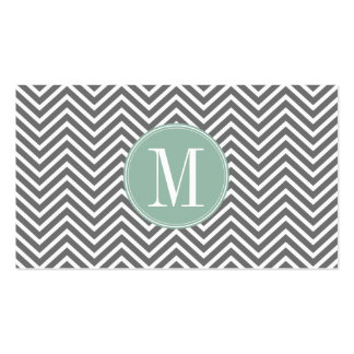 Charcoal and Mint Green Chevrons Custom Monogram Double-Sided Standard Business Cards (Pack Of 100)