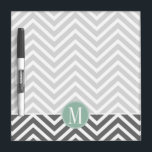 "Charcoal and Mint Green Chevrons Custom Monogram Dry Erase Board<br><div class=""desc"">Add your monograms to this trendy and graphic pattern with popular colors.</div>"