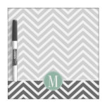 Charcoal and Mint Green Chevrons Custom Monogram Dry Erase Boards