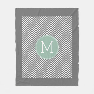 Charcoal and Mint Green Chevrons Custom Monogram Fleece Blanket