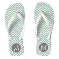 Charcoal and Mint Green Chevrons Custom Monogram Flip Flops