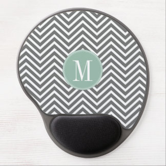 Charcoal and Mint Green Chevrons Custom Monogram Gel Mouse Pad