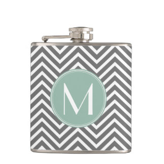 Charcoal and Mint Green Chevrons Custom Monogram Hip Flask