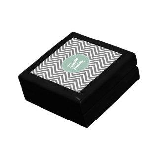 Charcoal and Mint Green Chevrons Custom Monogram Keepsake Box