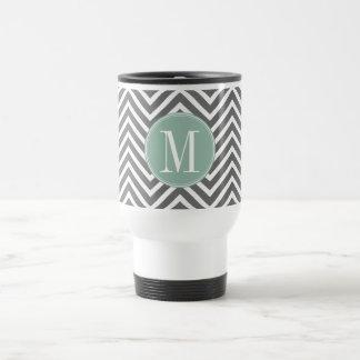 Charcoal and Mint Green Chevrons Custom Monogram 15 Oz Stainless Steel Travel Mug
