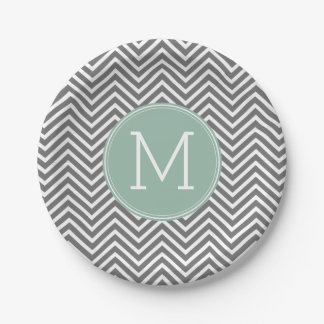 Charcoal and Mint Green Chevrons Custom Monogram Paper Plate
