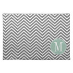 Charcoal and Mint Green Chevrons Custom Monogram Place Mat