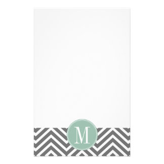 Charcoal and Mint Green Chevrons Custom Monogram Stationery