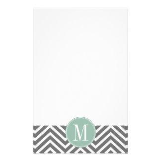 Charcoal and Mint Green Chevrons Custom Monogram Stationery