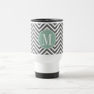 Charcoal and Mint Green Chevrons Custom Monogram Travel Mug