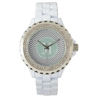 Charcoal and Mint Green Chevrons Custom Monogram Wrist Watch