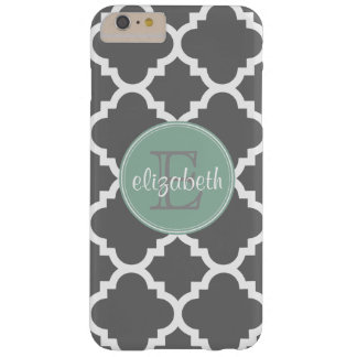 Charcoal and Mint Quatrefoil Pattern Monogram Barely There iPhone 6 Plus Case