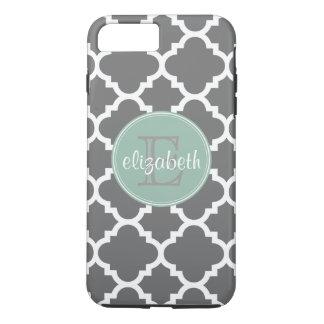 Charcoal and Mint Quatrefoil Pattern Monogram iPhone 7 Plus Case