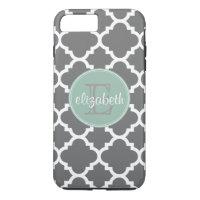 Charcoal and Mint Quatrefoil Pattern Monogram iPhone 8 Plus/7 Plus Case