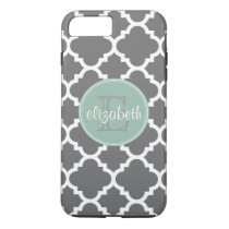 Charcoal and Mint Quatrefoil Pattern Monogram iPhone 8 Plus/7 Plus Case