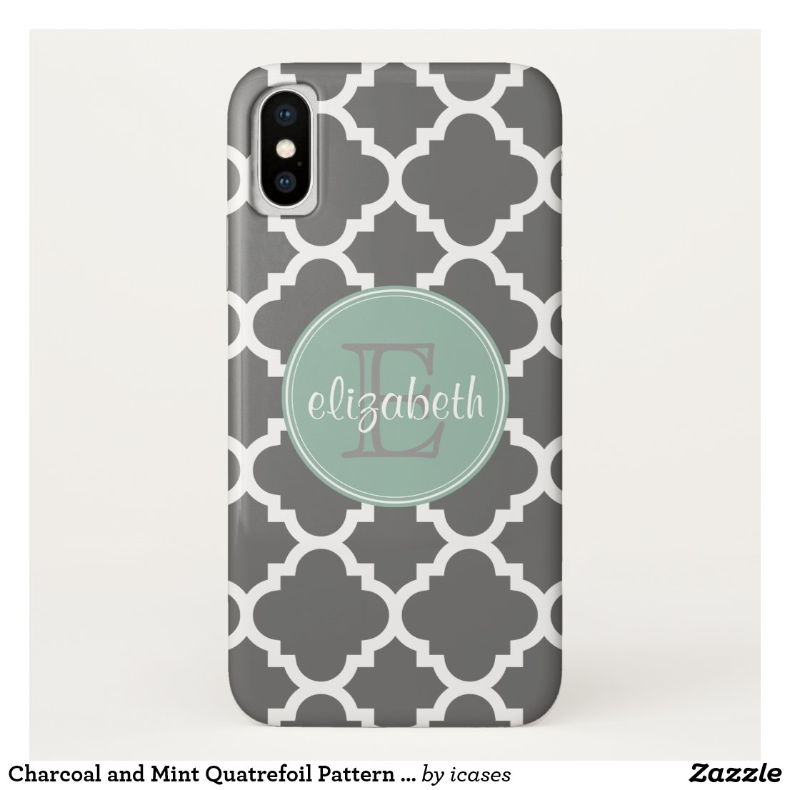 Charcoal and Mint Quatrefoil Pattern Monogram iPhone X Case