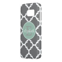 Charcoal and Mint Quatrefoil Pattern Monogram Samsung Galaxy S7 Case