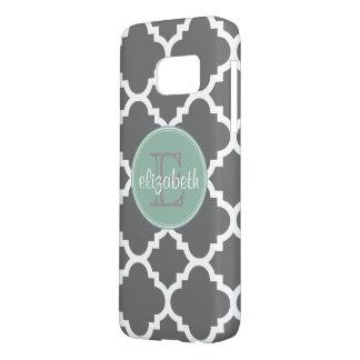 Charcoal and Mint Quatrefoil Pattern Monogram Samsung Galaxy S7 Case