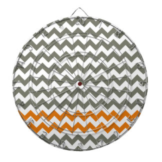 Charcoal and Orange Chevron Stripes Dart Board