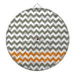 Charcoal and Orange Chevron Stripes Dartboard With Darts