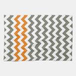 Charcoal and Orange Chevron Stripes Hand Towels