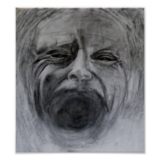 Charcoal and pencil drawing on paper print