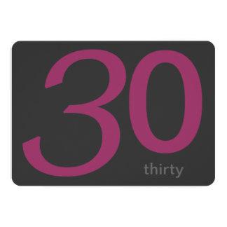 Charcoal and Plum Custom 30th Birthday Invitation