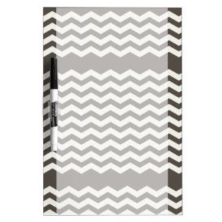 Charcoal and White Chevron Stripe Dry Erase Board