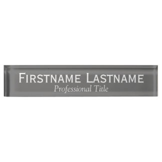 Charcoal and White Name and Professional Title Name Plate